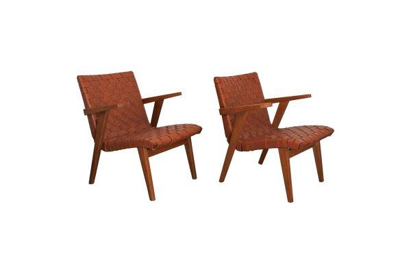 risom fauteuils knoll cuir vintage